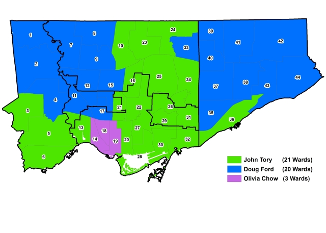 2014 Election - Mayor Votes by Ward Solid Colours