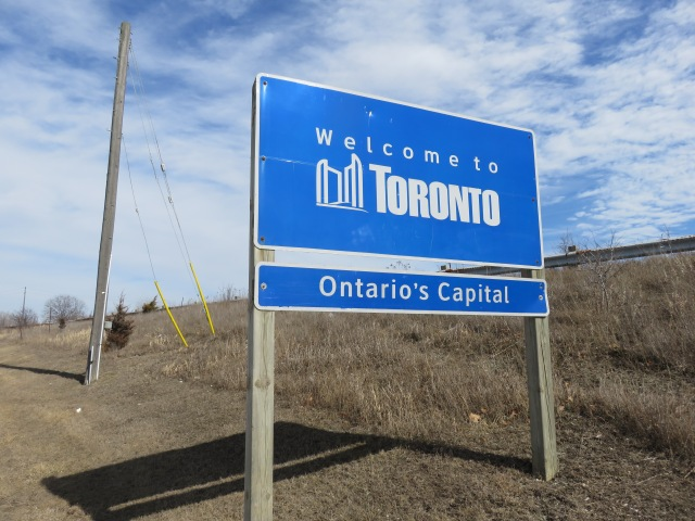 Welcome sign when entering the City of Toronto
