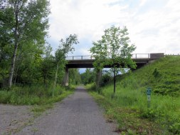 The trail is partially grade-separated, making use of former railway bridges and underpasses