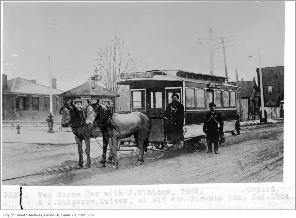 Horse car, with J. Gibbons, conductor, and J. Badgerow, driver, at Old North Toronto Station