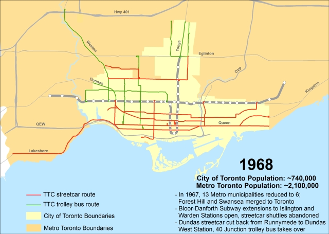 Toronto Subway Map With Streets.Mapping Toronto S Street Railways In The Ttc Era 1921 2016