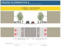 Alternative 2 - Two lanes, no parking, bike lanes