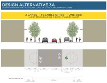 Alternative 3A - Two lanes, flexible street, parking one side