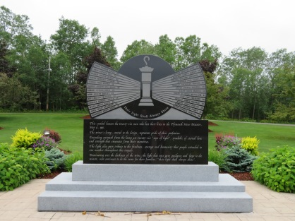 Main memorial with the names of the 26 miners