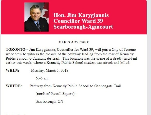 Councillor Jim Karygiannis media advisory
