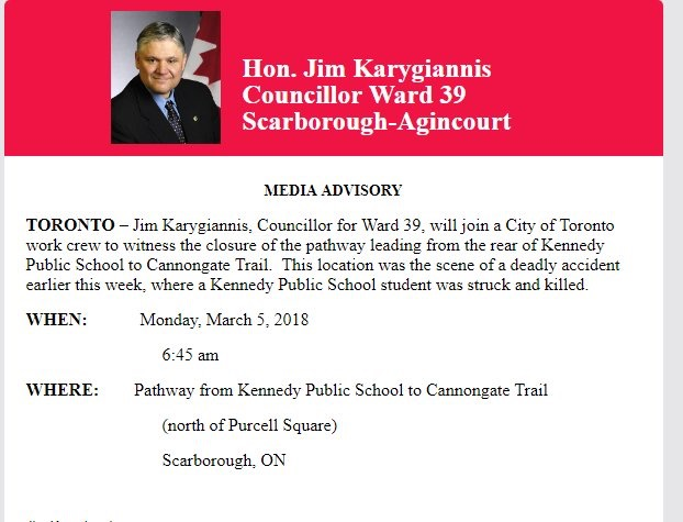 Councillor Jim Karygiannis media advisory