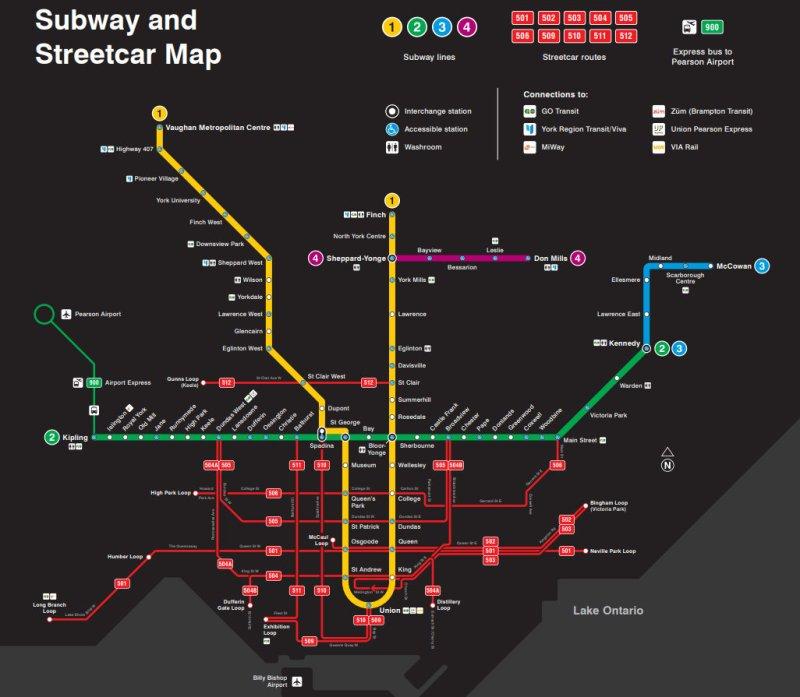 Subway and Streetcar Map