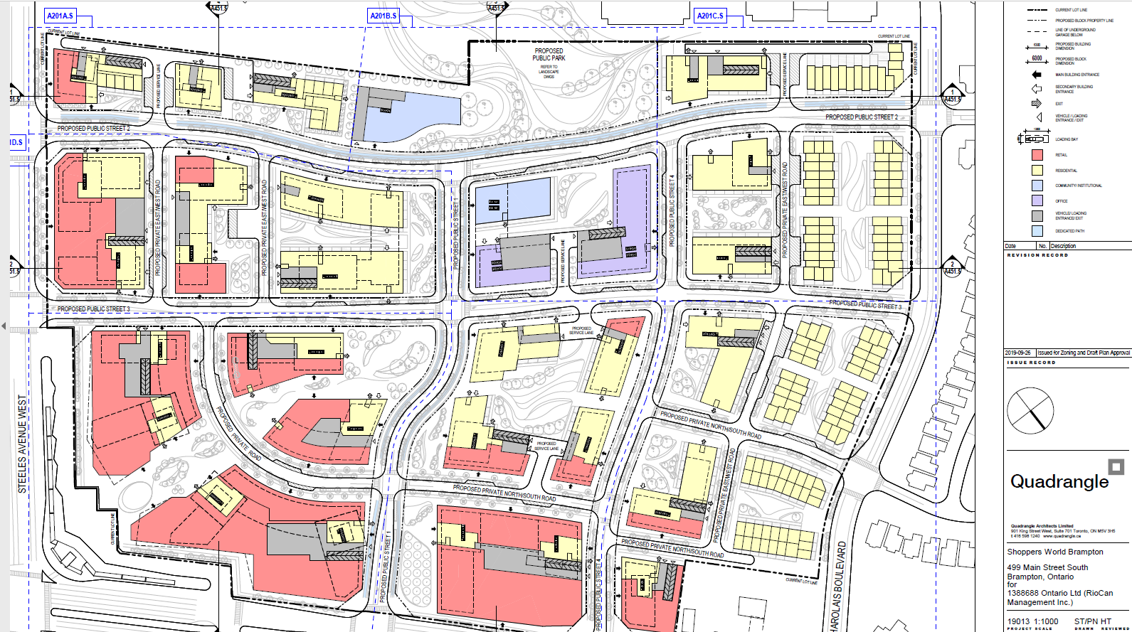 Site Plan of Shoppers World Brampton redevelopment