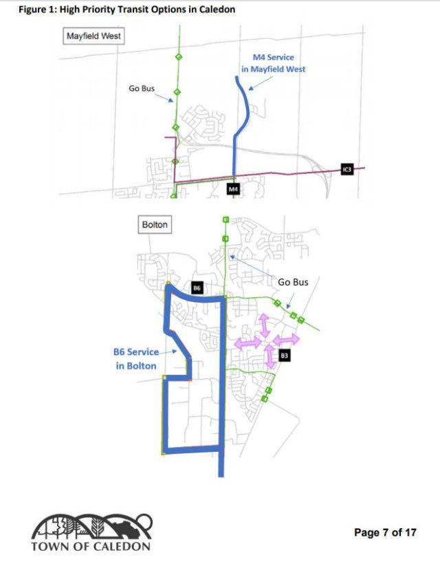 Transit options from Caledon council report