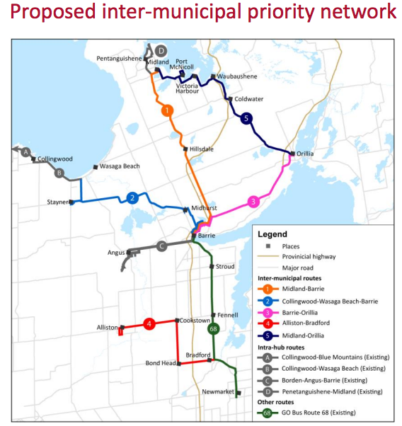 2016 map of proposed Simcoe County bus services