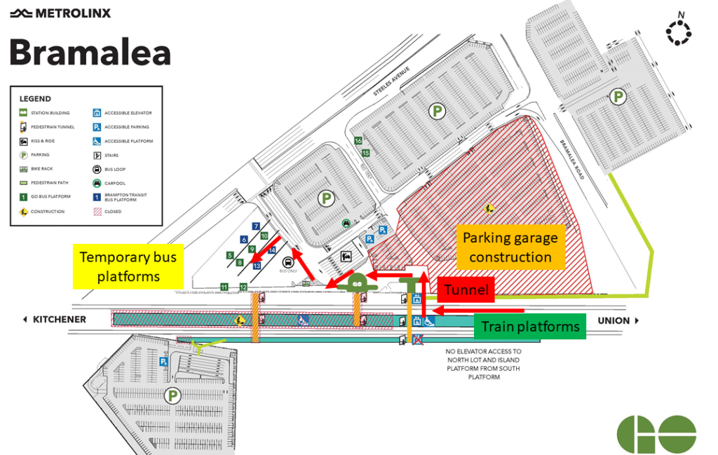 Map of construction at Bramalea GO Station